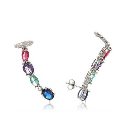 Brinco Ear Cuff Pedras Coloridas com Piercing Di Capri Semi Jóias X Ouro Branco