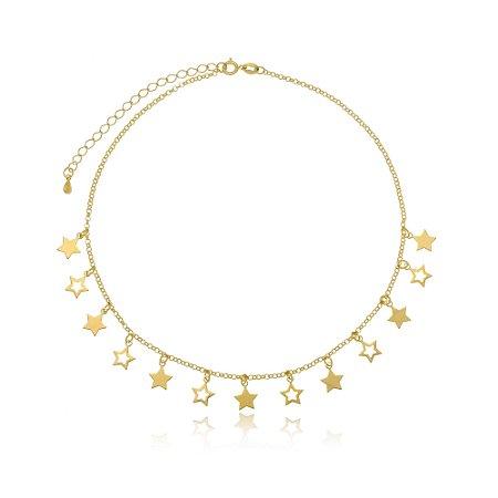 Choker Gargantilha Mix de Estrelas Di Capri Semi Jóias X Ouro