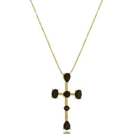 Colar Crucifixo Onix Di Capri Semi Jóias X Ouro