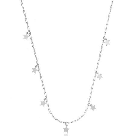 Colar Elos Cartier Estrelas Di Capri Semi Jóias X Ouro Branco