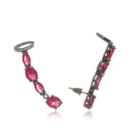 Brinco Ear Cuff Pedras Rubi com Piercing Di Capri Semi Jóias X Ródio Negro