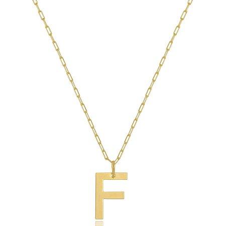 Colar Elos Cartier Letra F Di Capri Semi Jóias X Ouro