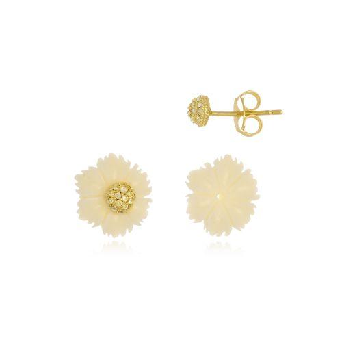 Brinco Flor de Acrílico com Cristais Di Capri Semi Jóias X Ouro