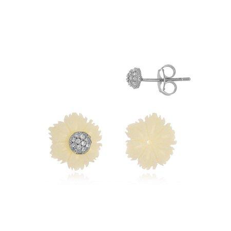 Brinco Flor de Acrílico com Cristais Di Capri Semi Jóias X Ouro Branco