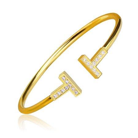 Pulseira Bracelete T Cravejado Di Capri Semi Jóias X Ouro