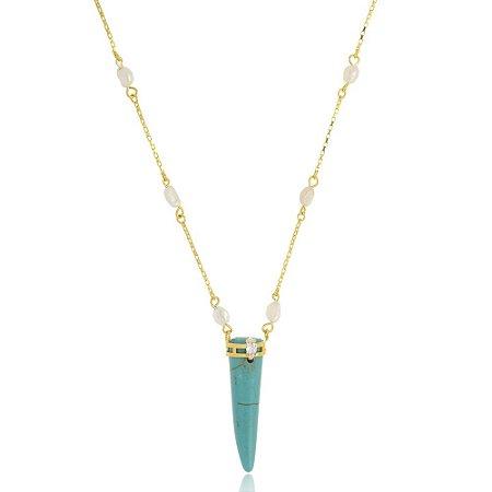 Colar de Pérola Barroca com dente de Sabre Azul Di Capri Semi Jóias X Ouro