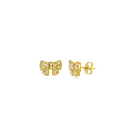 Brinco Infantil Lacinho Micro Pérolas Di Capri Semi Jóias X Ouro