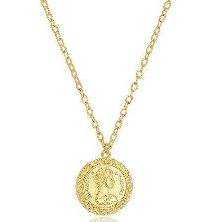 Colar Medalha Moeda Antiga Di Capri Semi Jóias X Ouro