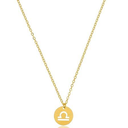 Colar Medalha Signos Libra Di Capri Semi Jóias X Ouro