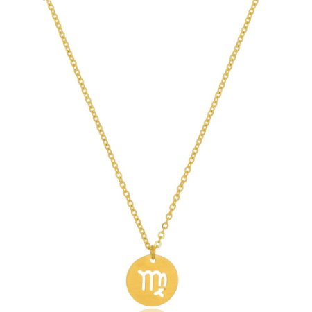 Colar Medalha Signos Virgem Di Capri Semi Jóias X Ouro