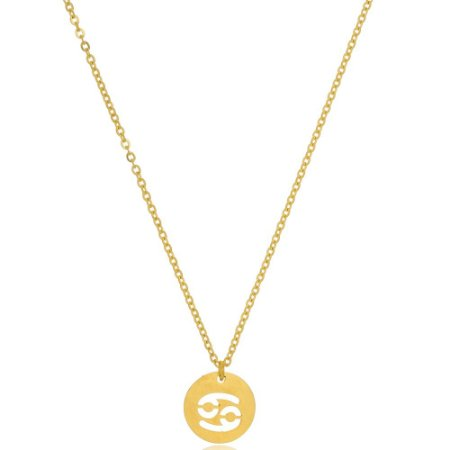 Colar Medalha Signos Câncer Di Capri Semi Jóias X Ouro