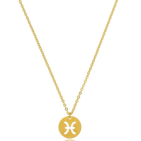 Colar Medalha Signos Gêmeos Di Capri Semi Jóias X Ouro