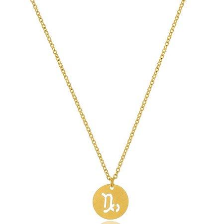 Colar Medalha Signos Capricórnio Di Capri Semi Jóias X Ouro
