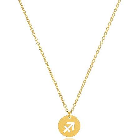 Colar Medalha Signos Sagitário Di Capri Semi Jóias X Ouro