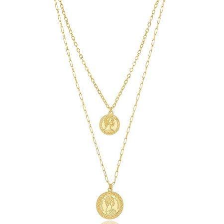 Colar Duplo Medalha Moeda Antiga Di Capri Semi Jóias X Ouro
