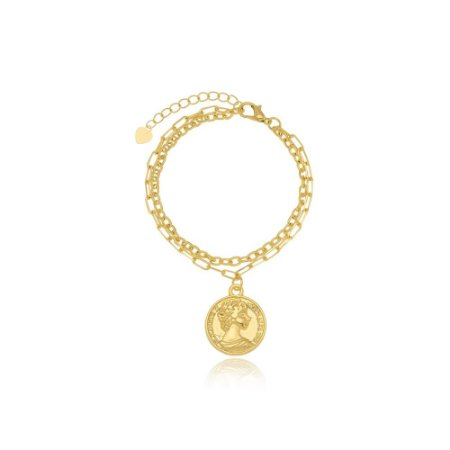 Pulseira Dupla Medalha Moeda Antiga Di Capri Semi Jóias X Ouro