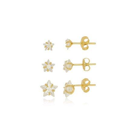 Trio De Brincos Estrela de Cristal Di Capri Semi Jóias X Ouro