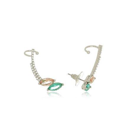 Brinco Ear Cuff Pedras Esmeralda e Morganita com Piercing Di Capri Semi Jóias X Ouro Branco