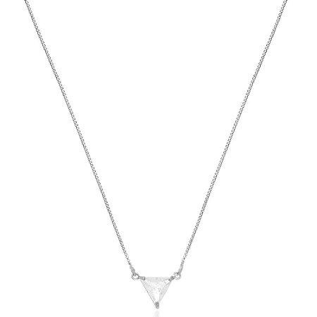 Colar Triângulo Cristal Di Capri Semi Jóias X Ouro Branco