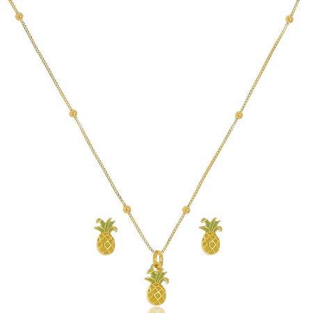 Conjunto Infantil Colar e Brinco Abacaxi Colorido Di Capri Semi Jóias X Ouro