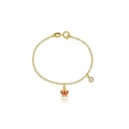 Pulseira Infantil Coroa Rosa Di Capri Semi Jóias X Ouro