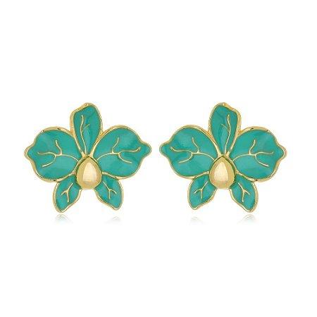Brinco Flor Resinada Verde Di Capri Semi Jóias X Ouro