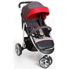 Carrinho de Bebê Apollo Grafite com Vermelho