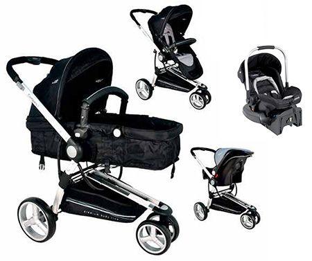 Conjunto Carrinho Compass e Bebê conforto com base Preto