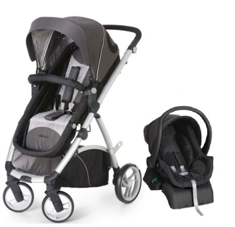 Conjunto Carrinho Maly e Bebê Conforto com Base Cinza com Preto
