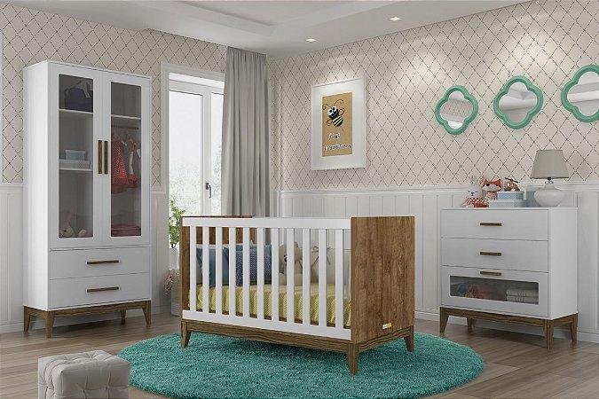 Jogo de Quarto Completo Nature Branco Eco Wood 2 portas - Matic Móveis