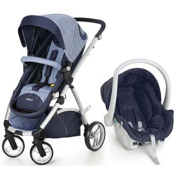 Conjunto Carrinho Maly e Bebê Conforto com Base Azul