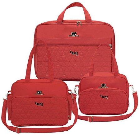 Kit 3 Bolsas Maternidade Docinho Vermelha