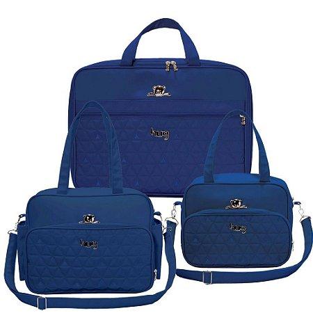 Kit 3 Bolsas Maternidade Docinho Azul Marinho