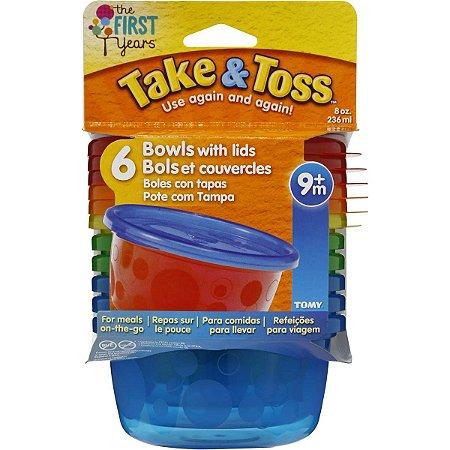 Kit 6 Potes 236ml com tampa (Azul e Verde) - Take & Toss
