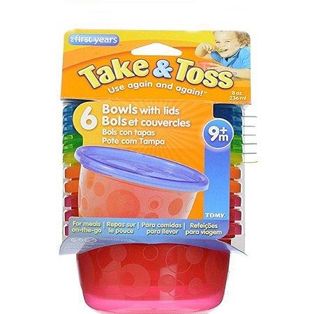 Kit 6 Potes 236ml com tampa (Vermelho e Laranja) - Take & Toss