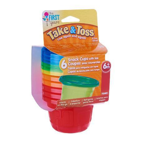 Kit 6 Potes 133ml com tampa (Vermelho e Laranja) - Take & Toss