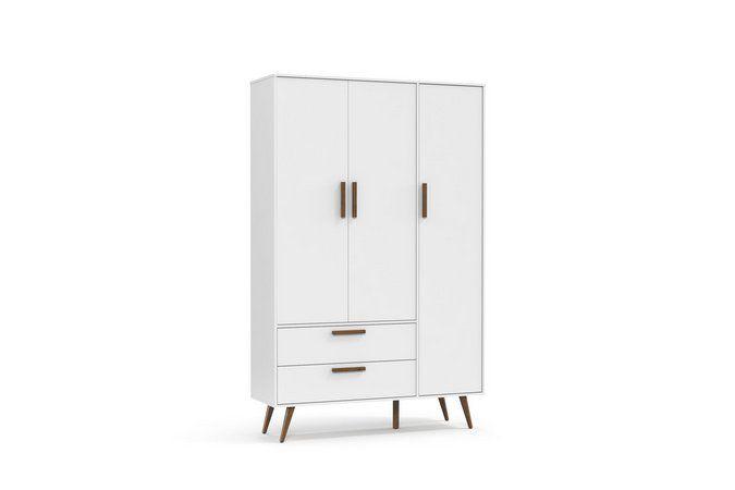 Roupeiro Retrô 3 Portas Branco Soft Eco Wood - Matic Móveis
