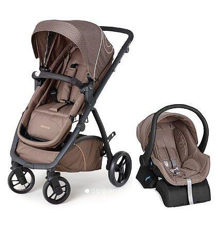 Conjunto Carrinho Maly e Bebê Conforto com Base Chocolate