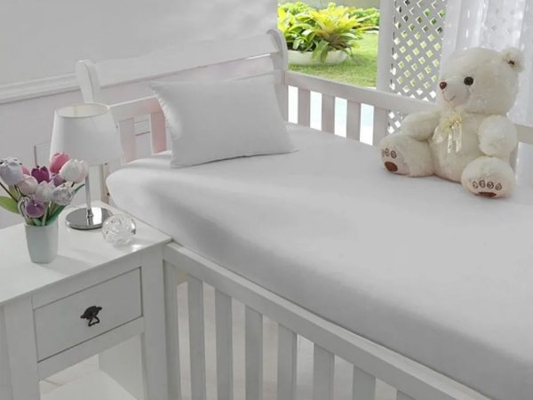 Jogo de Lençol de Berço Malha 100% Algodão Branco - Sathler Baby