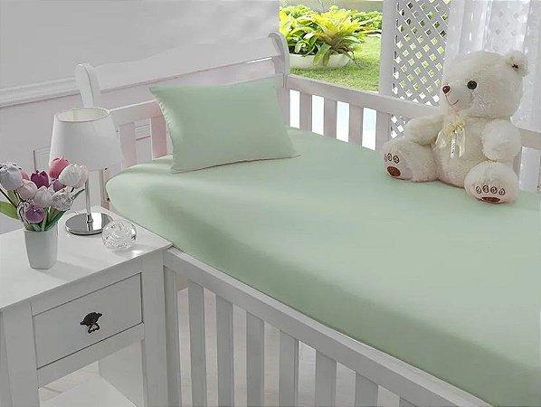 Jogo de Lençol de Berço Malha 100% Algodão Verde - Sathler Baby