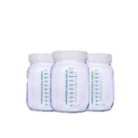 3 Potes de Vidros c/ tampa com marcador 150 ml - Leite