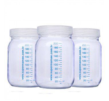 3 Potes de Vidros c/ tampa com marcador 220 ml - Leite