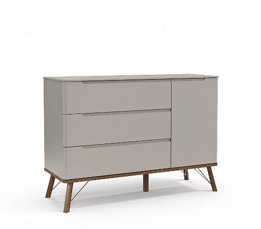 Cômoda 3 gavetas com porta Albi Cinza - Matic Móveis