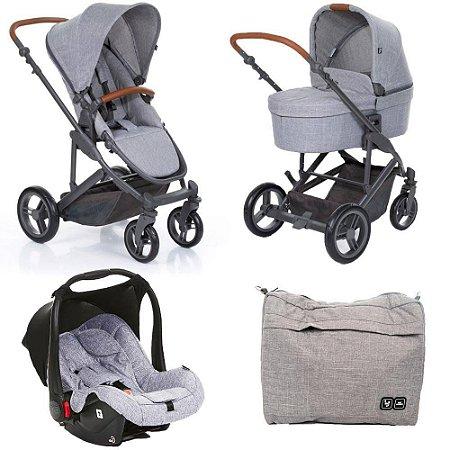 Carrinho Abc Design Como 4 Woven Grey Couro Moisés e Bolsa - ABC Design