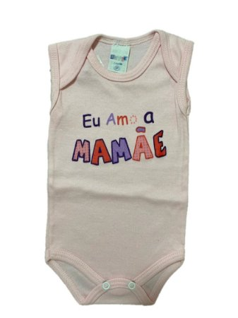 BODY EU AMO A MAMÃE REGATA ROSA - GENTE MIUDA