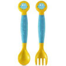 Colher e garfo flexíveis Azul/Amarelo- Multikids baby