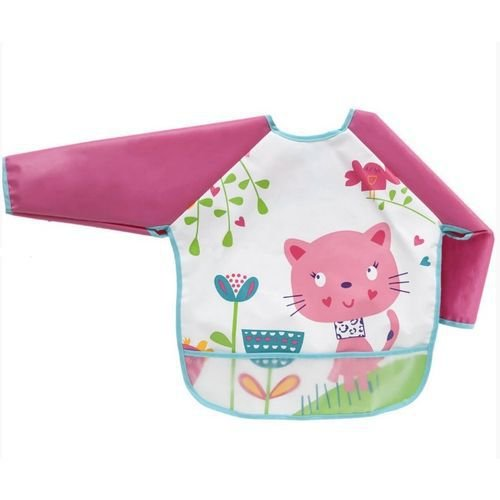 Babador Infantil Com Mangas Rosa - Buba