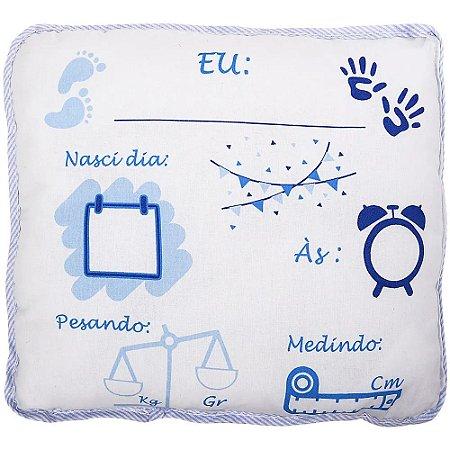Almofadinha Preciosa com Caneta para Escrever as informações do Bebê - Masculino