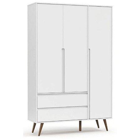 Roupeiro Retrô Clean 3 Portas Branco Soft/Eco Wood - Matic Móveis