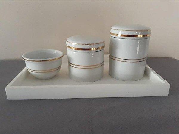 Kit Higiene Porcelana Listras Douradas - Porcelana Regis